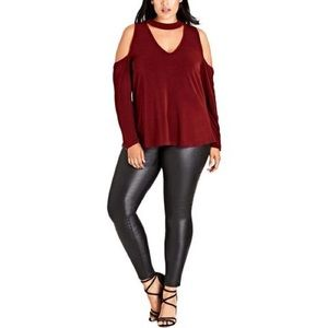 Burgundy City Chic (18w) cold shoulder Top
